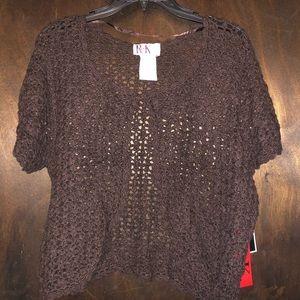 R & K Brown Crochet Shrug